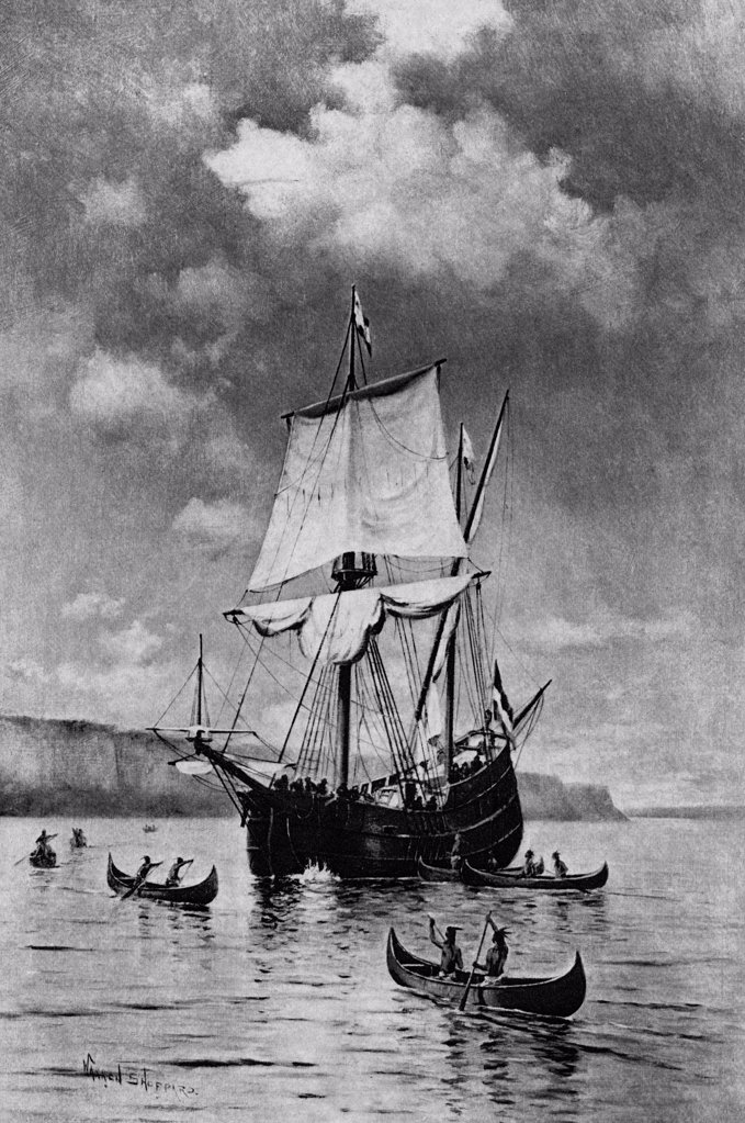 Stock Photo: 900-2141 Discovery of the Hudson by Warren Sheppard, 1895, (1858-1937)