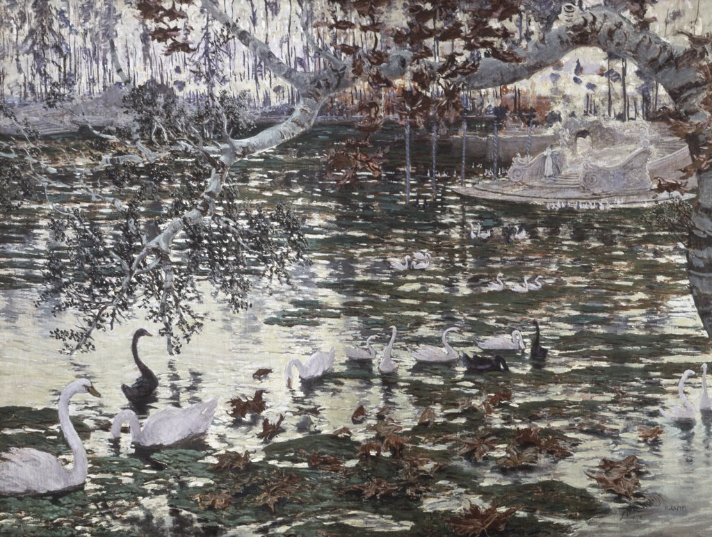 Stock Photo: 900-226 The Falling Leaves: Swans