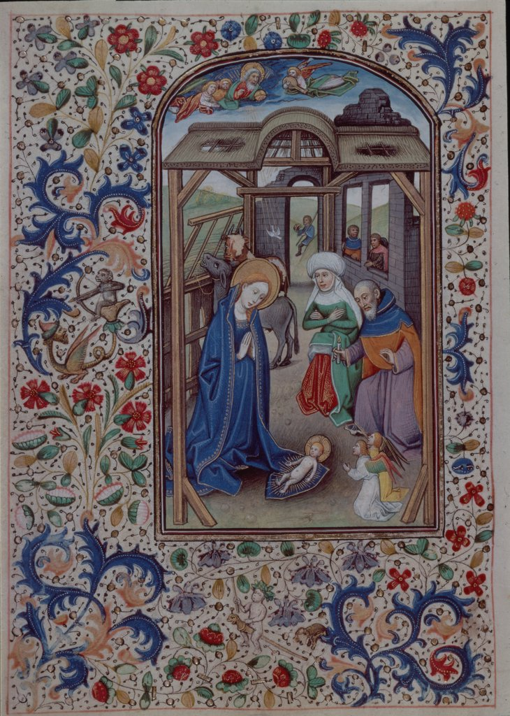 Nativity   The Book of Hours  Manuscripts   : Stock Photo