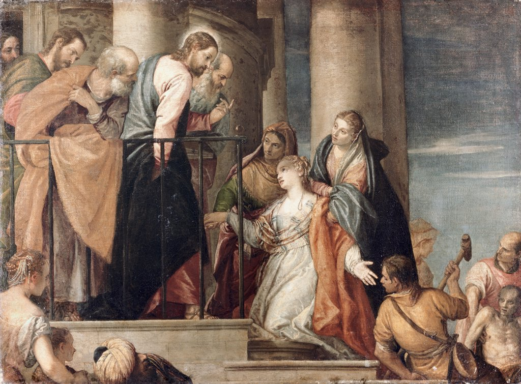 Stock Photo: 900-2892 Healing the Woman with the Issue of Blood  Veronese (Paolo Caliari) 1528-1588 /Venetian