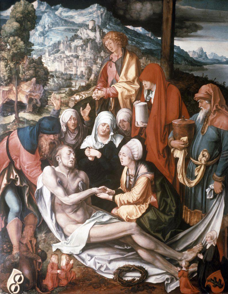 Lamentation Over the Dead Christ by Albrecht Durer, (1471-1528), Geramany, Munich, Alte Pinakothek : Stock Photo