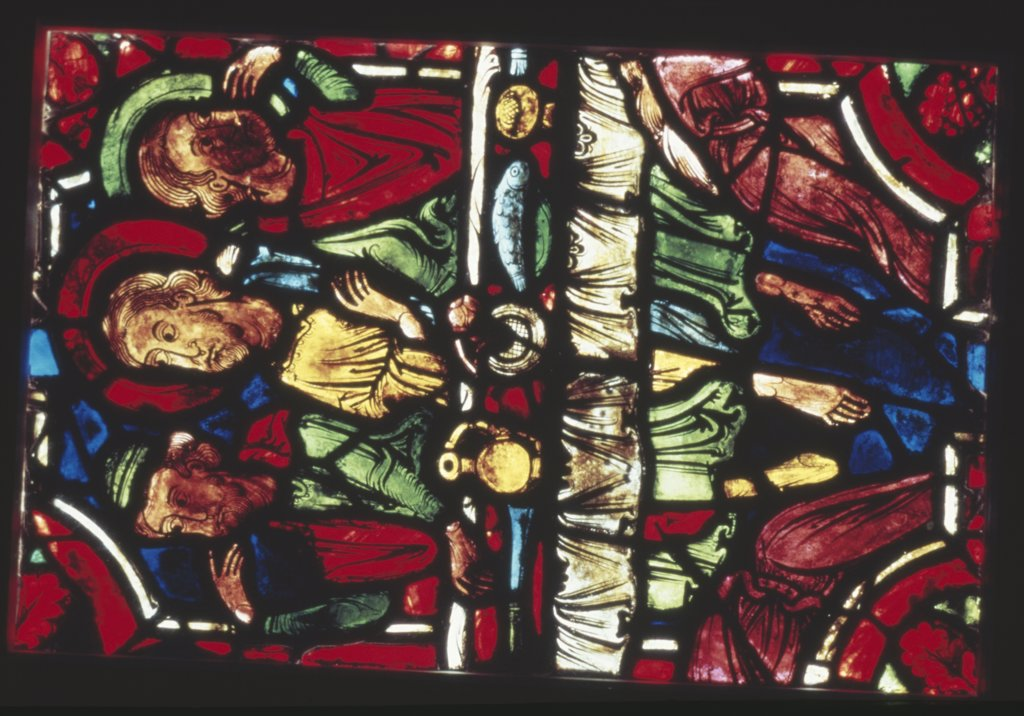 Stock Photo: 900-2984 France,  Centre Region,  Bourges,  Bourges Cathedral,  stained glass detail representing The Last Supper