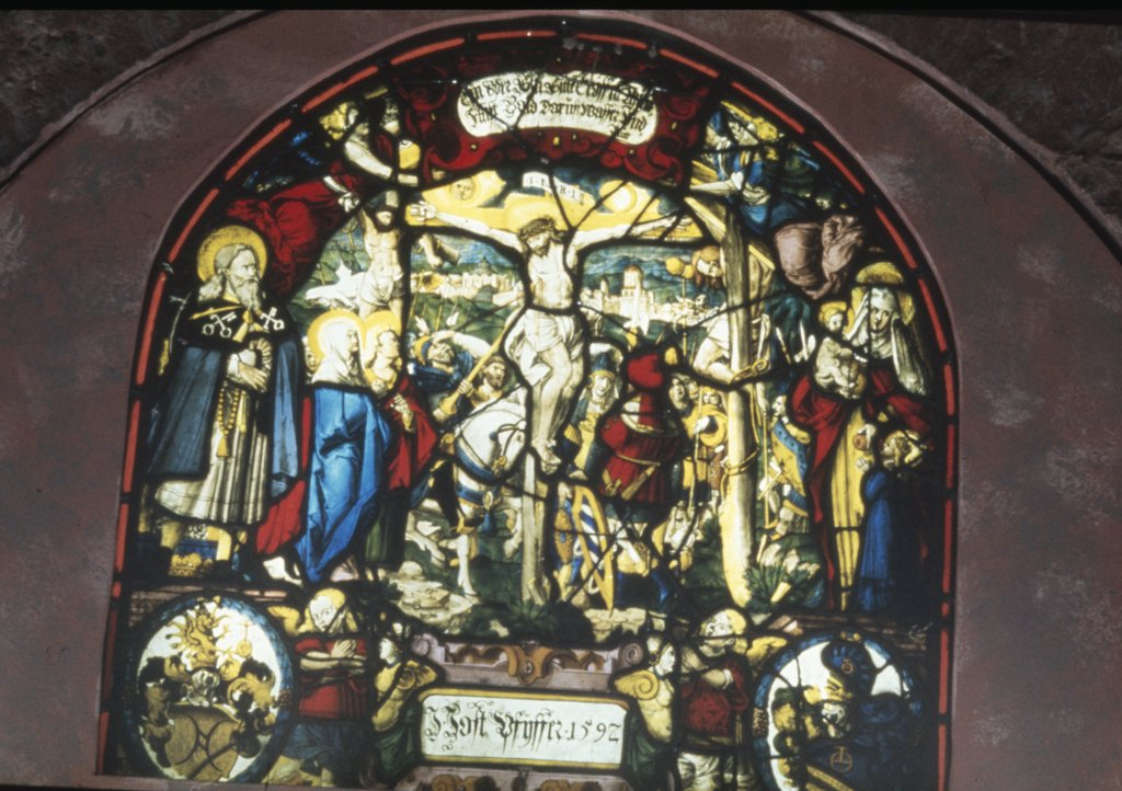 Stock Photo: 900-2993 Switzerland,  Lucerne Canton,  Rathausen,  Rathausen Convent,  Stained glass with depiction of the Crucifixion,  1562