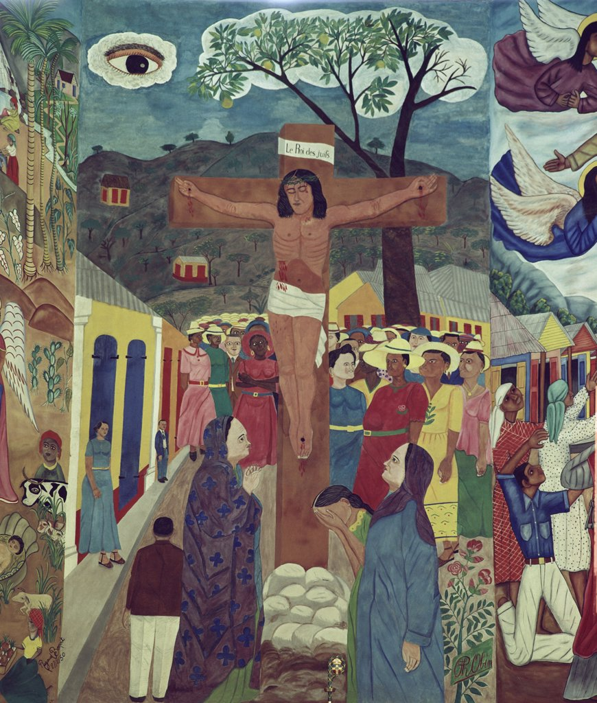 The Crucifixion by Philome Obin, Tempera, 1891-1986, Haiti, Port-au-Prince, Cathedral of St. Trinity : Stock Photo