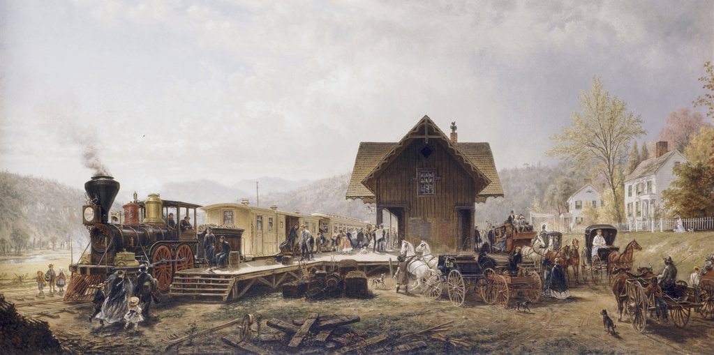 Stock Photo: 900-3242 Railroad Arriving, Stratford, Connecticut