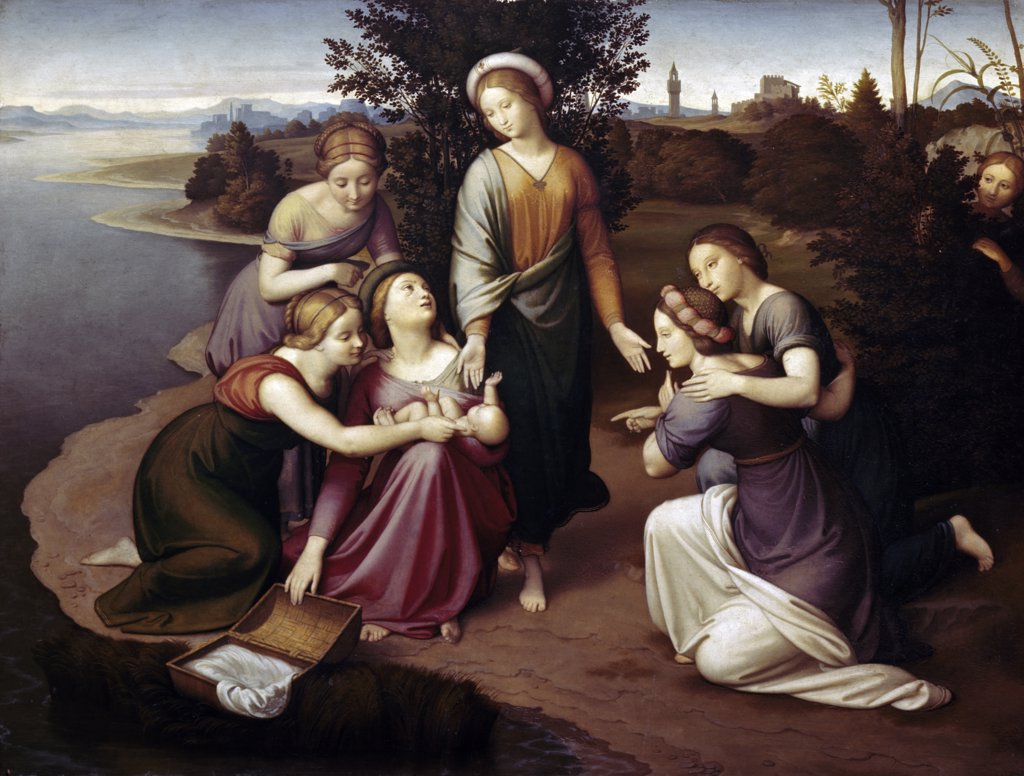 The Discovery of Moses by Johann Friedrich Overbeck, (1789-1869) : Stock Photo