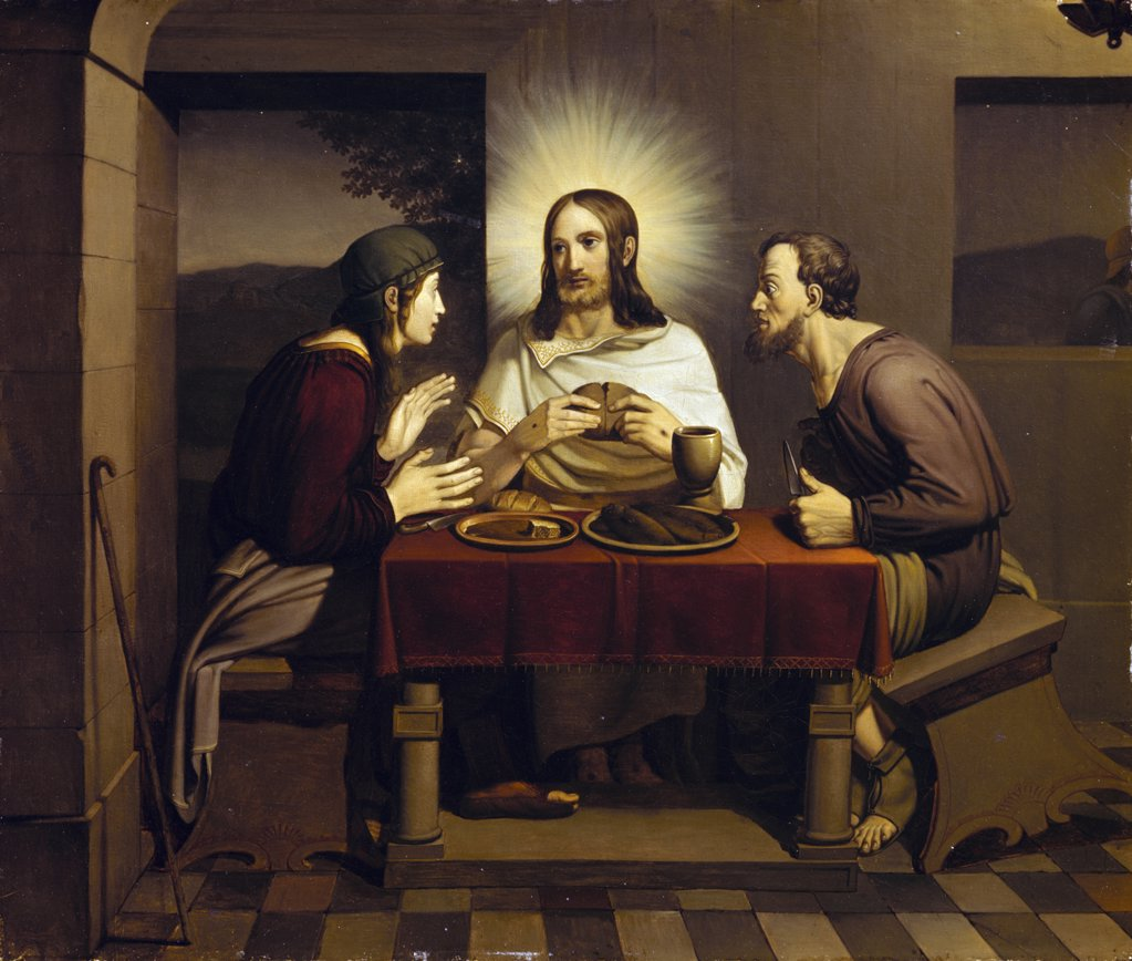 Stock Photo: 900-3318 Christ at Emmaus by Johann Friedrich Overbeck, (1789-1869), Germany, Lubeck, Saint Anne's Museum