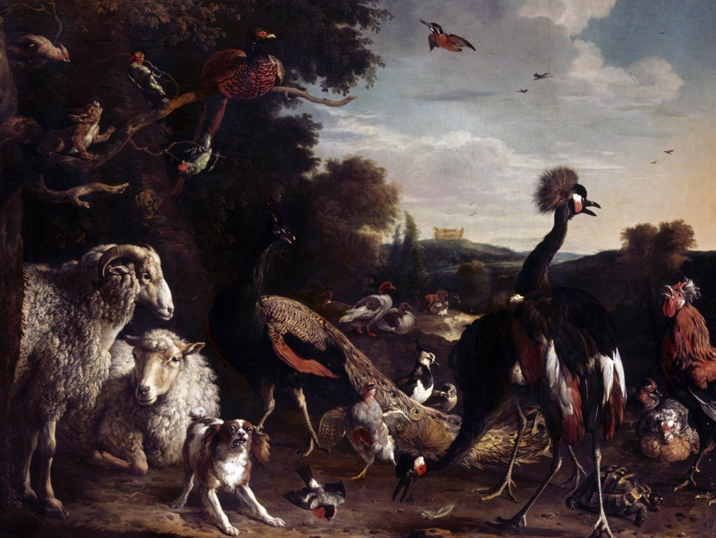 Animals from Noah's Ark by Melchior d'Hondecoeter, (1636-1695) : Stock Photo