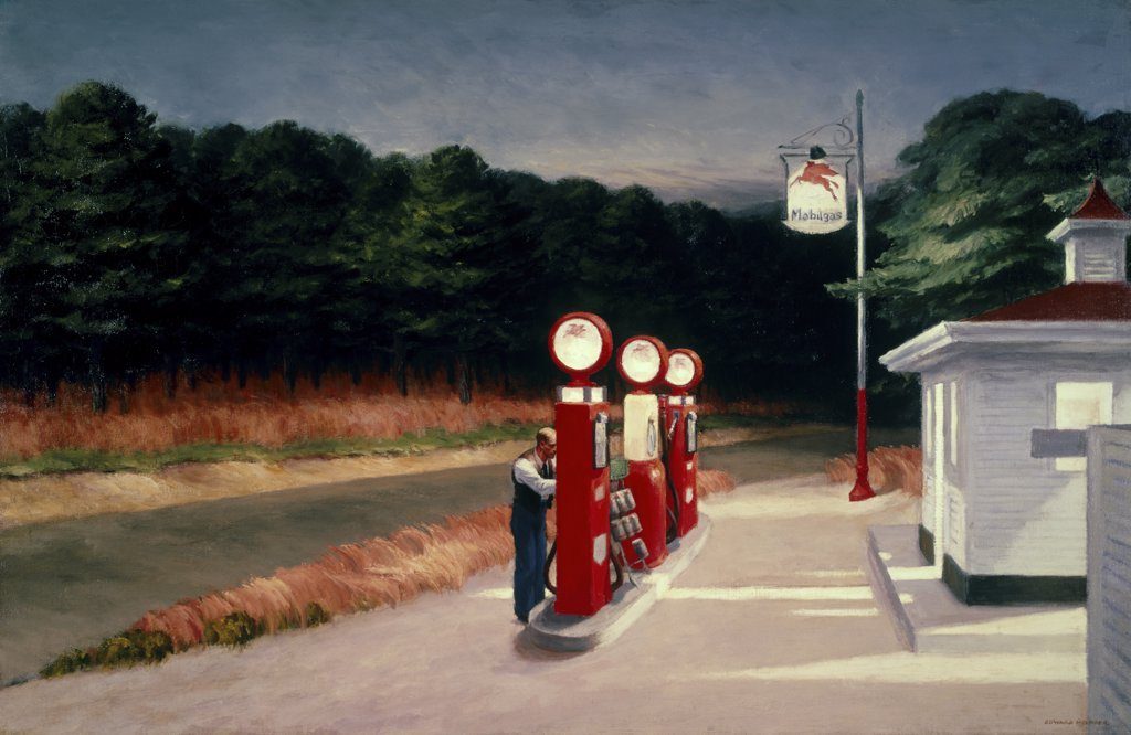 Stock Photo: 900-344 Gas by Edward Hopper, 1882-1967, USA, New York City, Museum of Modern Art.