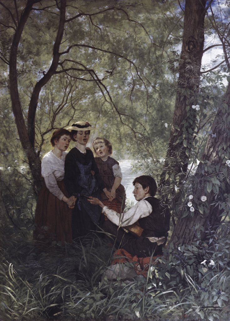 Singing In The Garden Hans Thoma (1839-1924 German) : Stock Photo