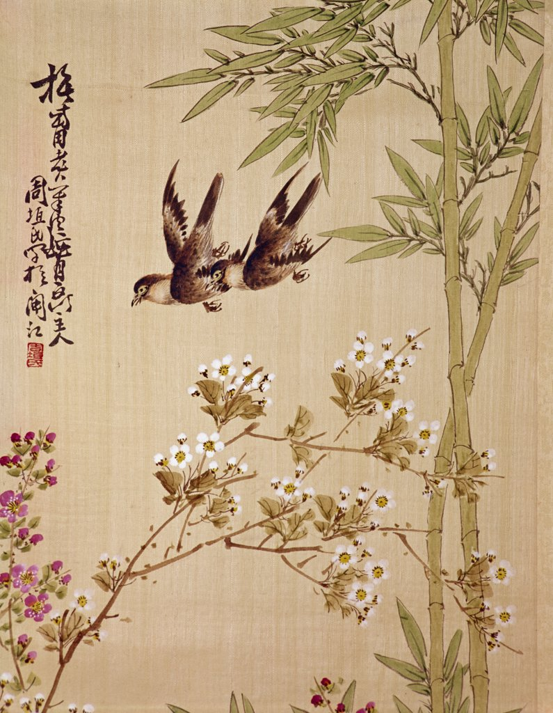 Stock Photo: 900-374 Birds and Flowers