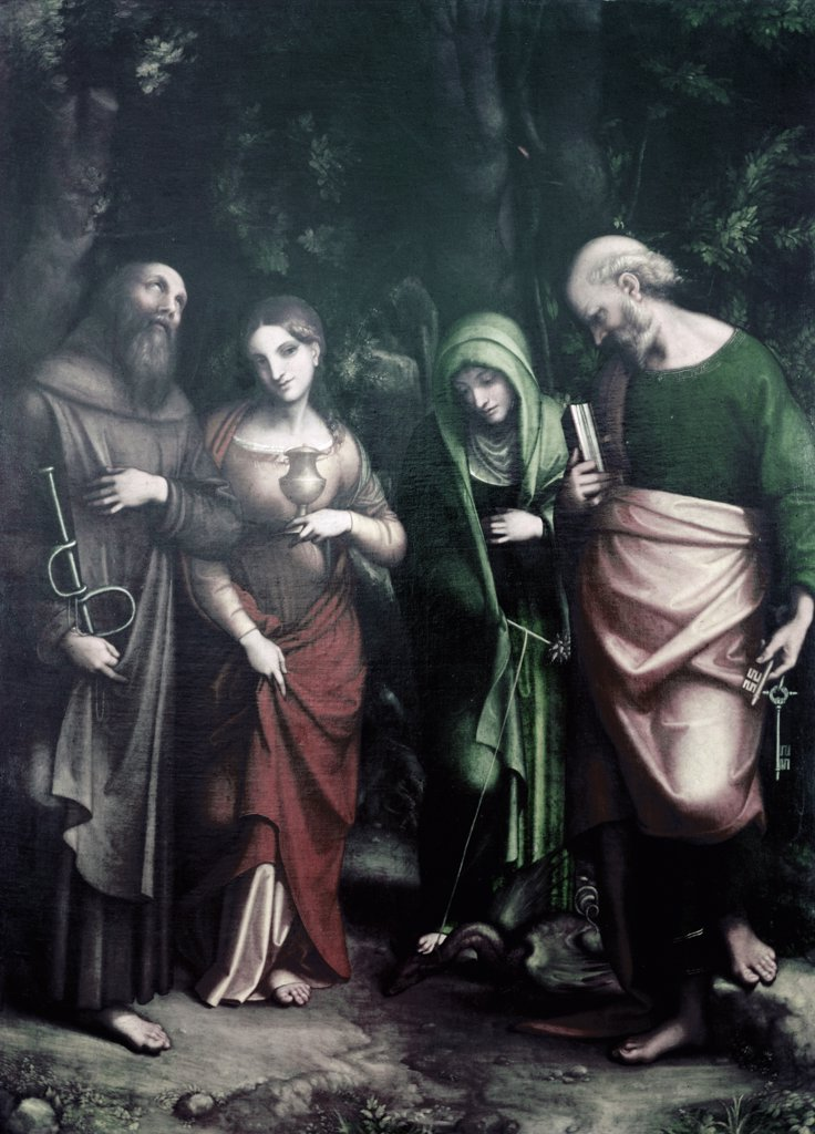 Stock Photo: 900-3777 Saints Peter,  Martha,  Mary Magdalen,  and Leonard,  by Antonio Allegri da Correggio,  (1489/94-1534)