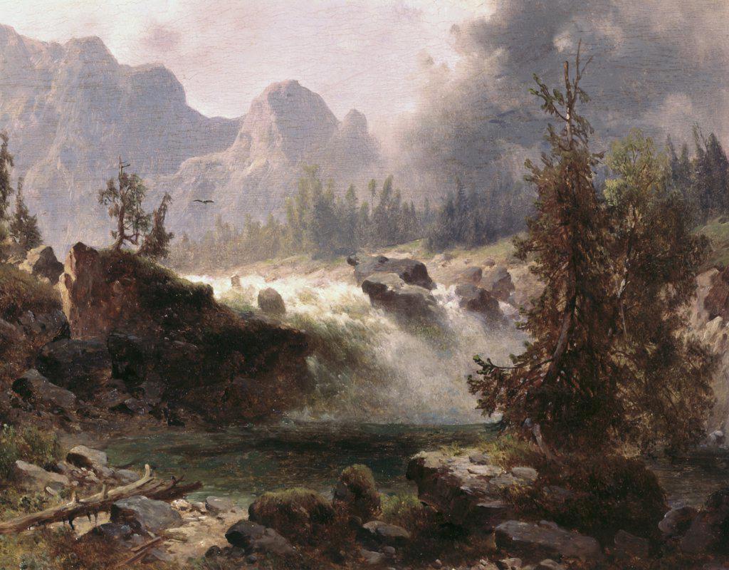 Stock Photo: 900-4118 Rocky Mountain Stream Albert Bierstadt (1830-1902 American)