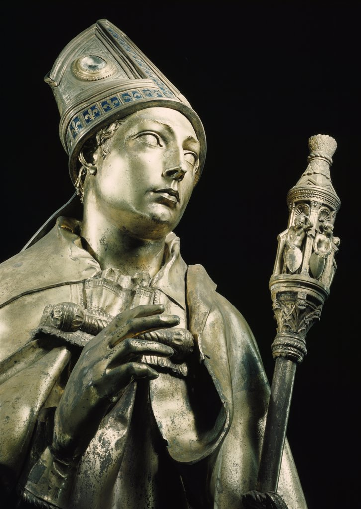 Stock Photo: 900-418 Detail from Saint Louis of Toulouse by Donatello,  (Circa 1386-1466),  Italy,  Florence,  Basilica of Santa Croce