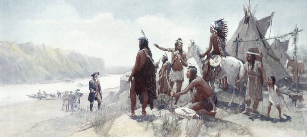 Stock Photo: 900-4556 Lewis and Clark Expedition by Oscar Edward Berninghaus, 1903-6, 1874-1952