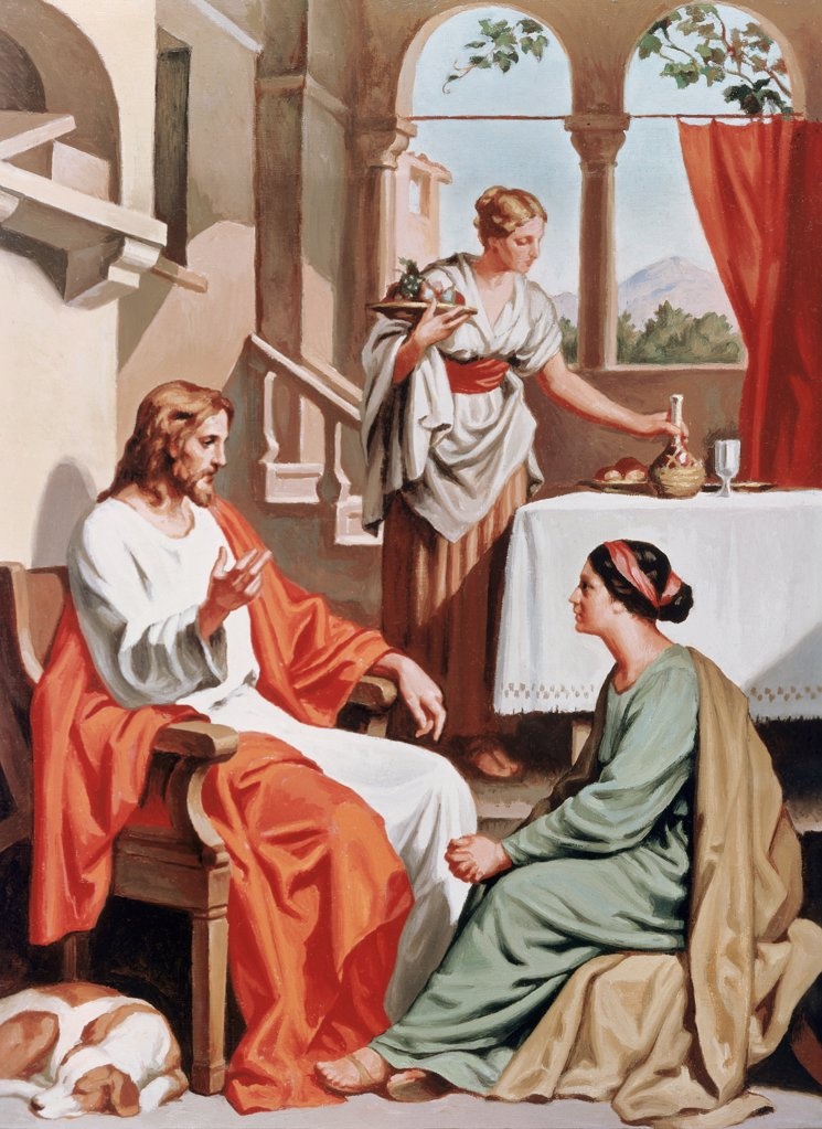 Stock Photo: 900-4725 Jesus Visits Martha and Mary
