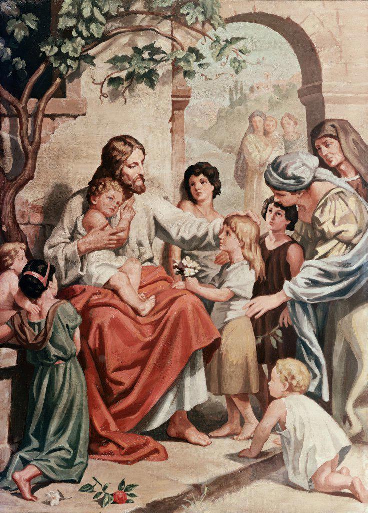 Stock Photo: 900-4744 Jesus Welcoming the Children (School of ) Heinrich Hoffmann
