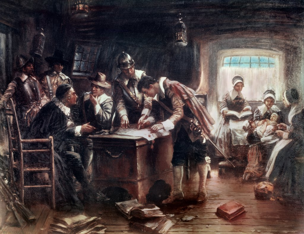 Stock Photo: 900-4751 Signing of the Mayflower Compact