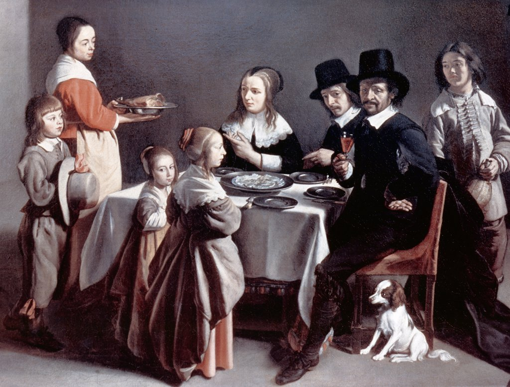 Stock Photo: 900-4768 The Family Dinner, Louis Le Nain (ca. 1593-1648 French)