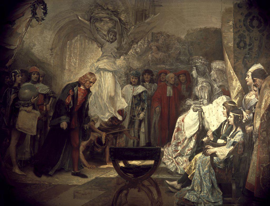 Stock Photo: 900-4798 The Return of Columbus to the Spanish Court Raimundo de Madrazo y Garreta, (1841-1920 Spanish)