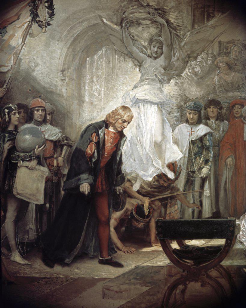 Stock Photo: 900-4799 The Return of Columbus to the Spanish Court (Detail) Raimundo de Madrazo y Garreta (1841-1920 Spanish)