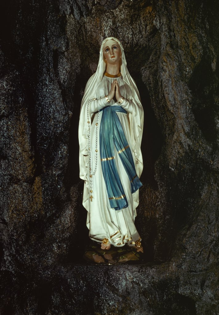 Stock Photo: 900-5033 Our Lady of Lourdes,  enamel sculpture