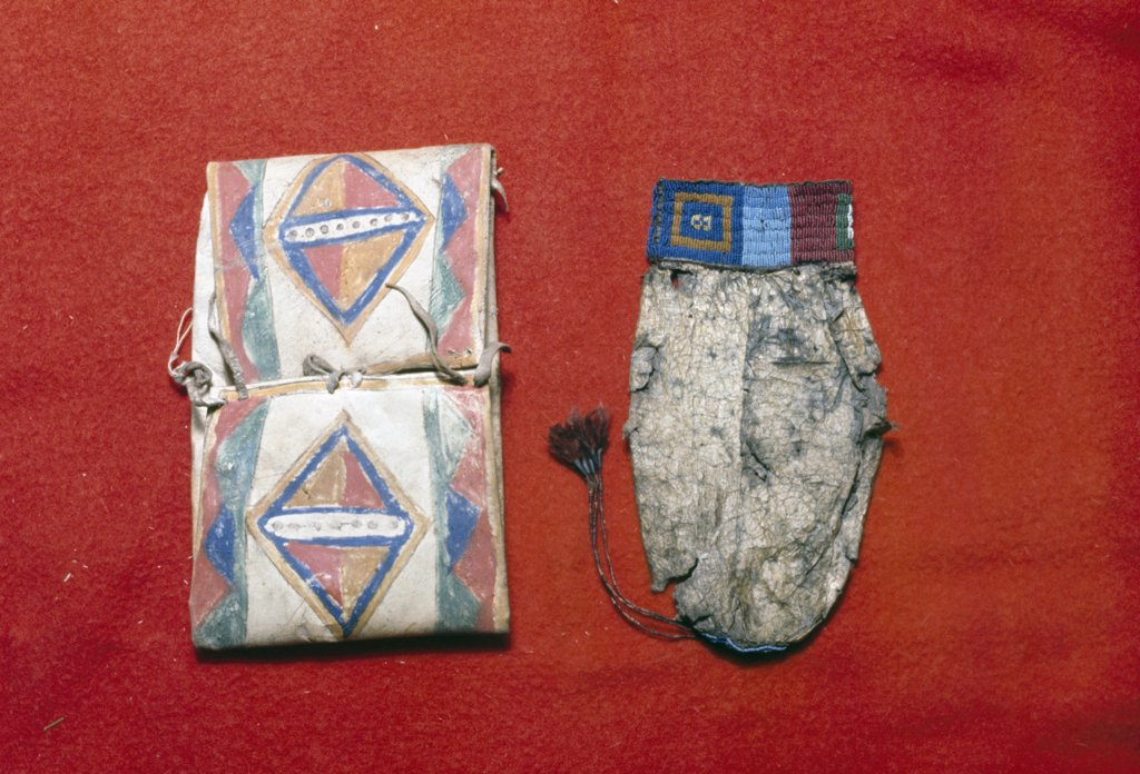 Parfleche and water bag, Sioux tribe artifacts : Stock Photo