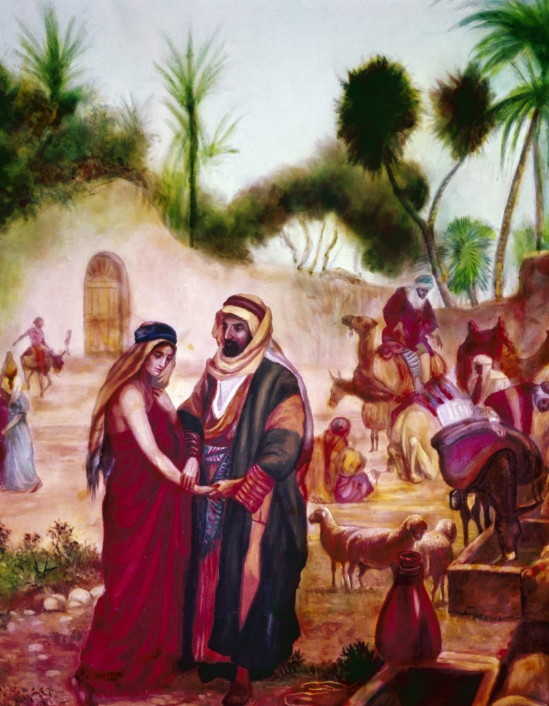Stock Photo: 900-5615 Jacob Meeting Rachel At The Well, Bianchini, Vittorio (1797-1880/Italian)