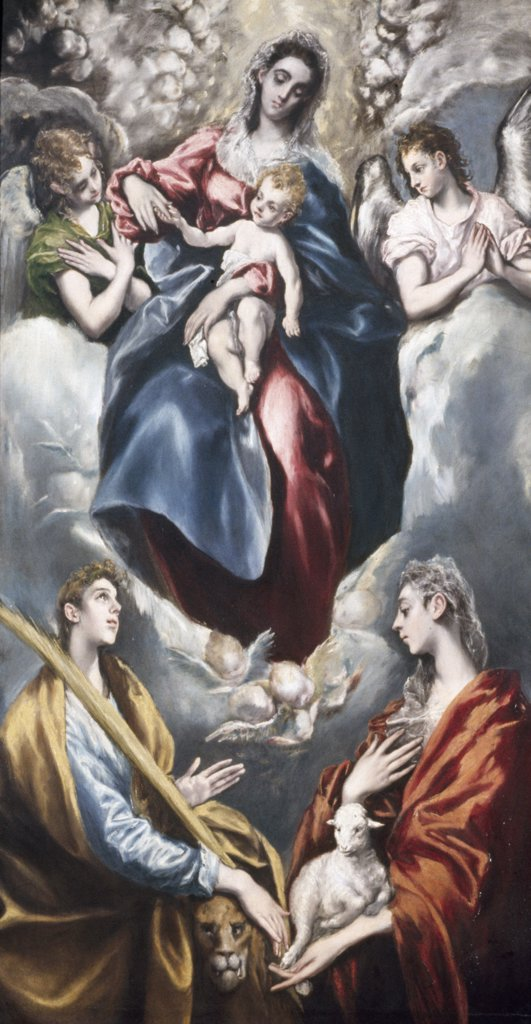 Virgin Mary and Child with St. Agnes and St. Martina by El Greco, oil on canvas, 1597-99, 1541-1614, Spain, Toledo, San Jose Chapel : Stock Photo