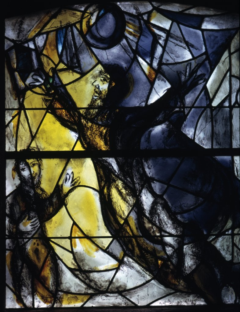 USA, New York City, Sleepy Hollow, Union Church of Pocantico Hills, Yellow stained glasswindow by Marc Chagall, 1887-1985 : Stock Photo