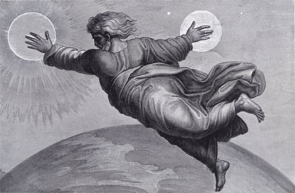 The Sun And Moon (After) Raphael (Italian) : Stock Photo