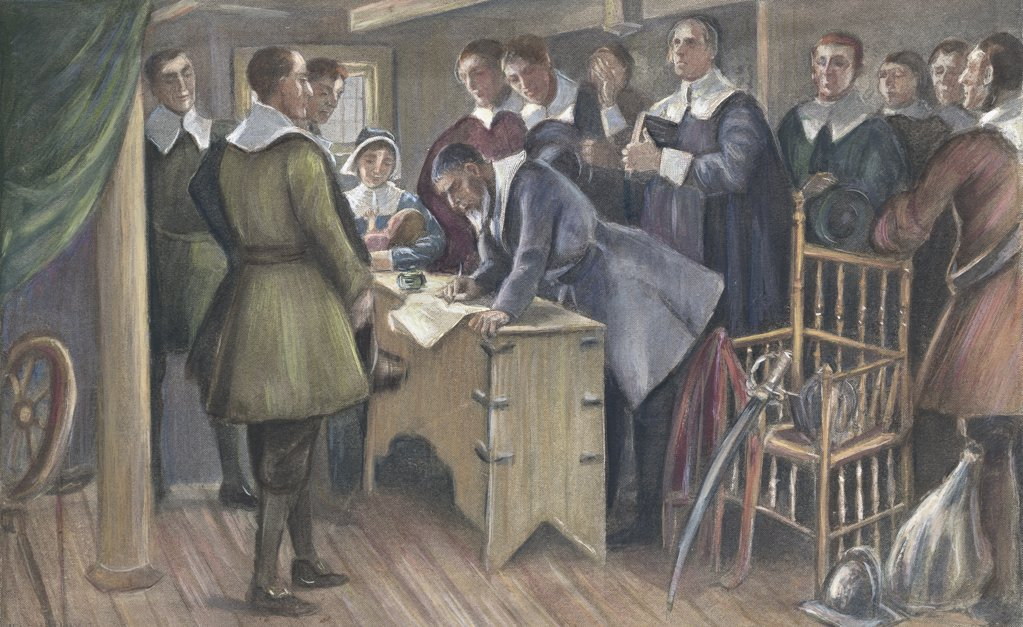 Stock Photo: 900-600002 Signing The Compact On The Mayflower, Cpyrt 1895, J. Steeple Davis, (1844-1917 American)