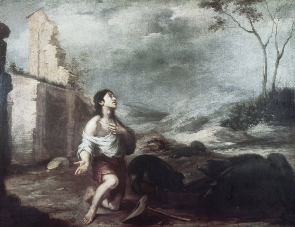 Stock Photo: 900-6085 The Prodigal Son Feeding the Swine