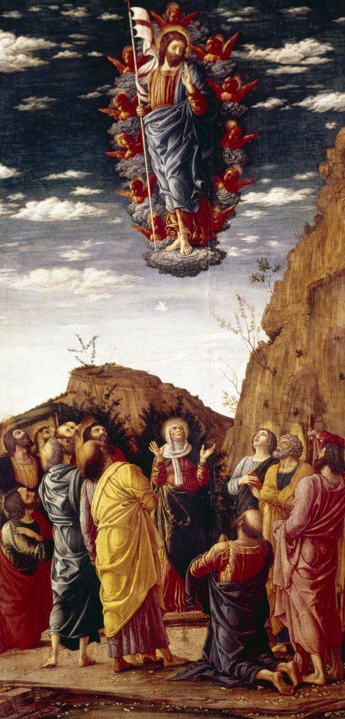 Ascension by Andrea Mantegna, tempera on wood panel, (C.1431-1506), Italy, Florence, Galleria Degli Uffizi, 1464 : Stock Photo