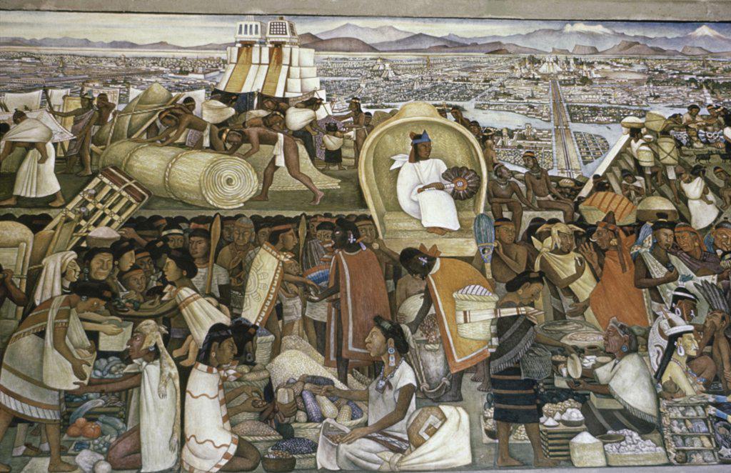 La gran tenochtitlan market fair in tenochtitlan by for Diego rivera tenochtitlan mural