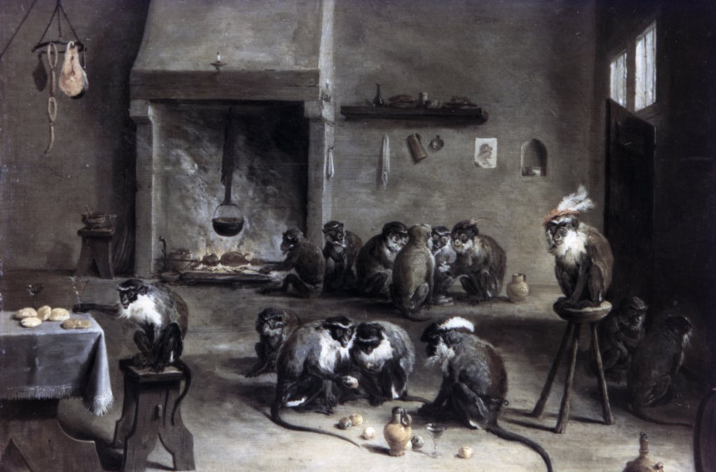 Monkeys in a Kitchen by David Teniers the Younger, circa 1640, 1610-1690, Russia, St. Petersburg, The Hermitage : Stock Photo
