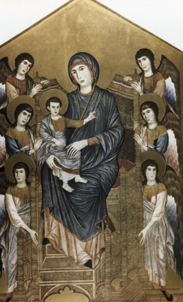 Stock Photo: 900-64966 Maesta Madonna Enthroned, by Cimabue Cenni di Pepe, tempera on panel, circa 1270, circa1240-circa1302, France, Paris, Musee du Louvre
