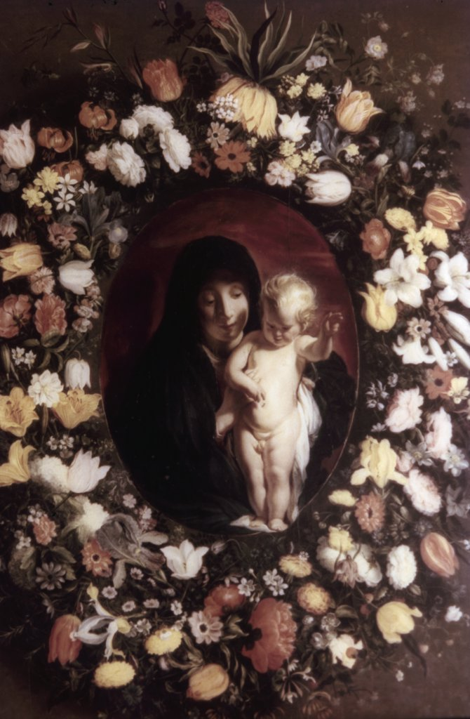 Stock Photo: 900-64974 Madonna and Child Wreathed with Flowers by Jacob Jordaens, c.1618, flowers painted by Andris Daniels in 19th century, oil on canvas, 1593-1678