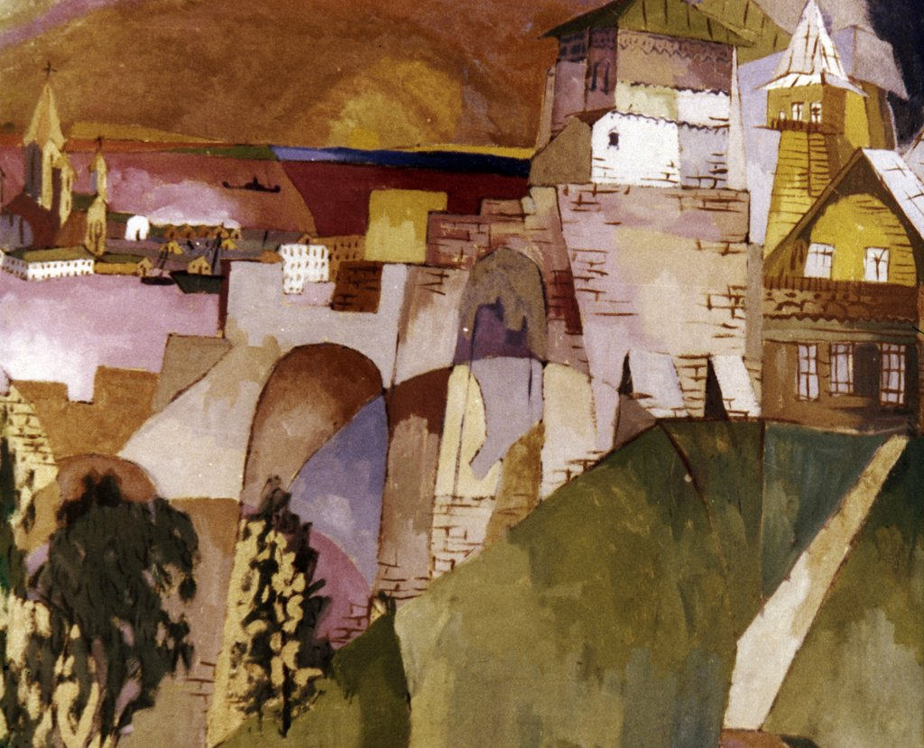 Lower Novgorod Kremlin by Aristarch Vasil'evic Lentulov, 1915, 1882-1943 : Stock Photo