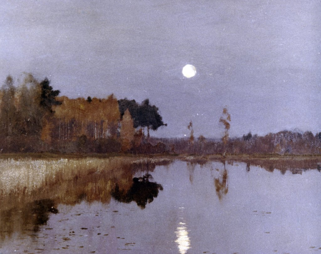 Sumerkn Moon by Isaac Il'ic Levitan, 1899, 1860-1900 : Stock Photo