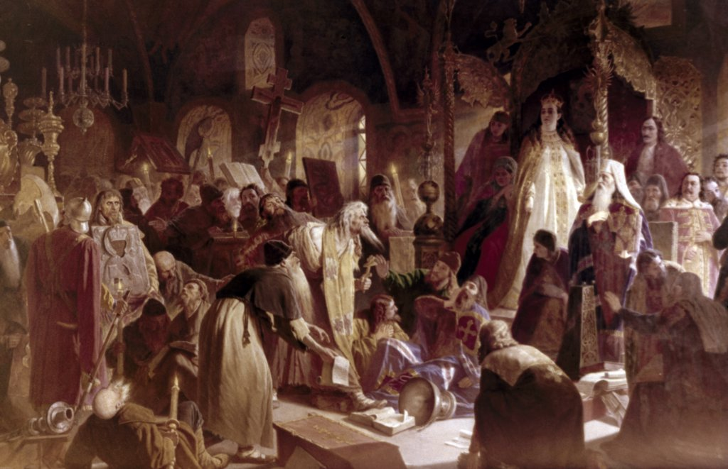 Stock Photo: 900-65023 Old Believer Priest Nikita Pustosviat Disputing with Patriarch Joachim on Matters of Faith by Vasiliy Perov, 1880-81, 1834-1882