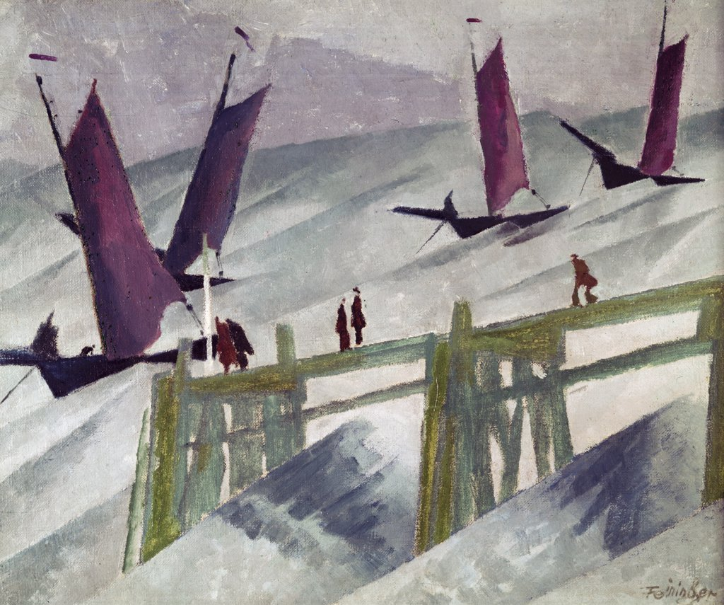 Fischer flotte in Dunung,  by Lyonel Feininger,  1912,  (1871-1956),  Germany,  Hannover,  Sprengel Museum : Stock Photo