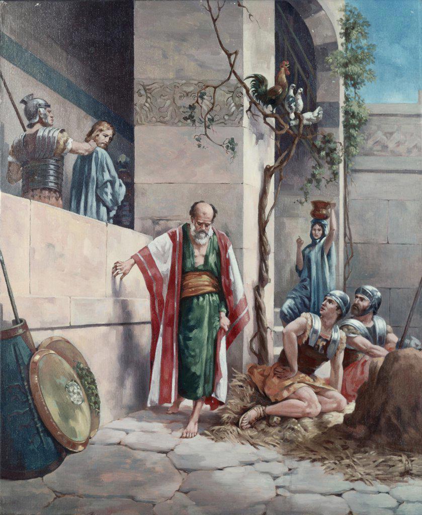 Peter Denies Christ 19th C. Artist Unknown : Stock Photo
