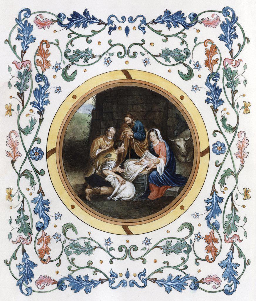 Stock Photo: 900-7133 Nativity with Illuminated Border Bartolome Esteban Murillo (1617-1682 Spanish)
