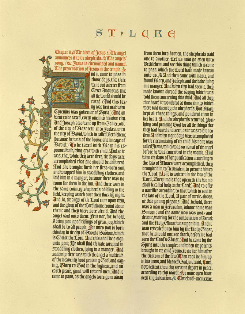 Stock Photo: 900-7241 Saint Luke's Birth of Christ,  manuscript from New Testament