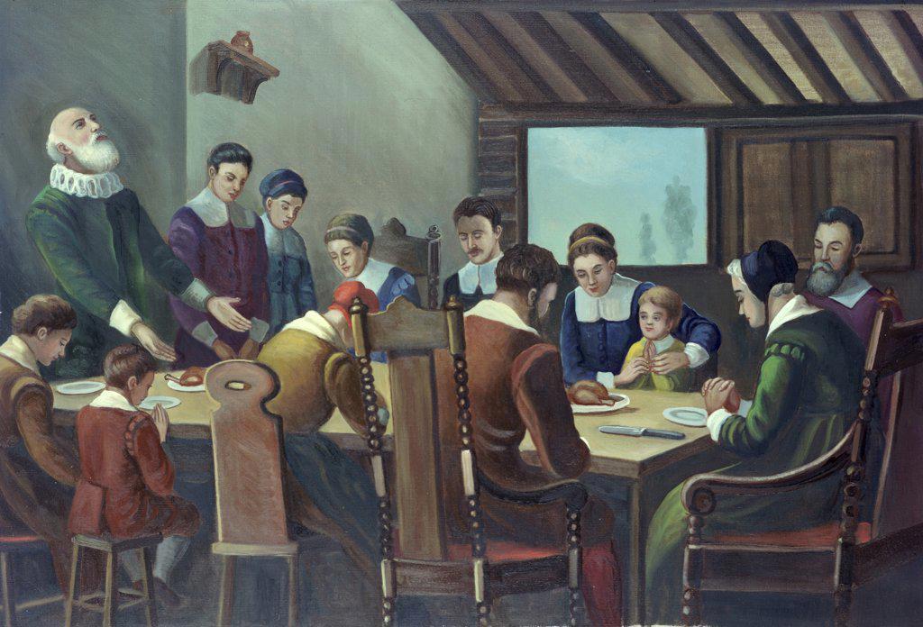 Stock Photo: 900-7246 Pilgrims Thanksgiving Dinner William van Doren