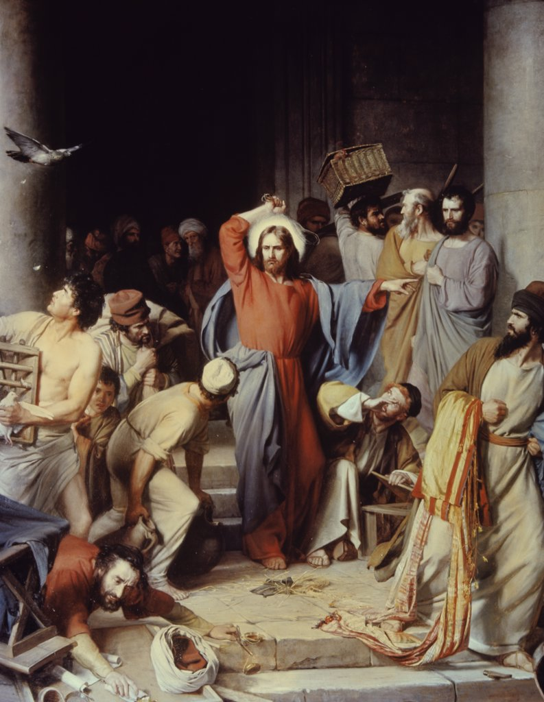 Christ driving the Money Changers out of the Temple  Carl Heinrich Bloch (1834-1890/ Danish)  : Stock Photo