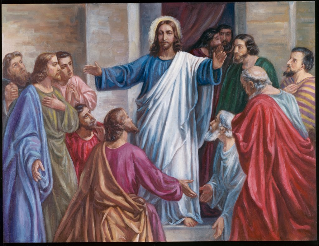 Christ and His Disciples  19th C. Thomson  : Stock Photo