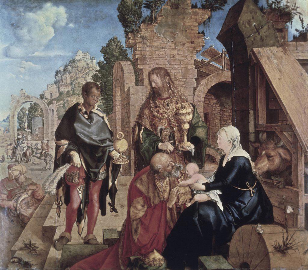 Stock Photo: 900-7401 Adoration of the Magi 1504 Albrecht Durer (1471-1528/German) Oil on Wood Panel Galleria degli Uffizi, Florence, Italy