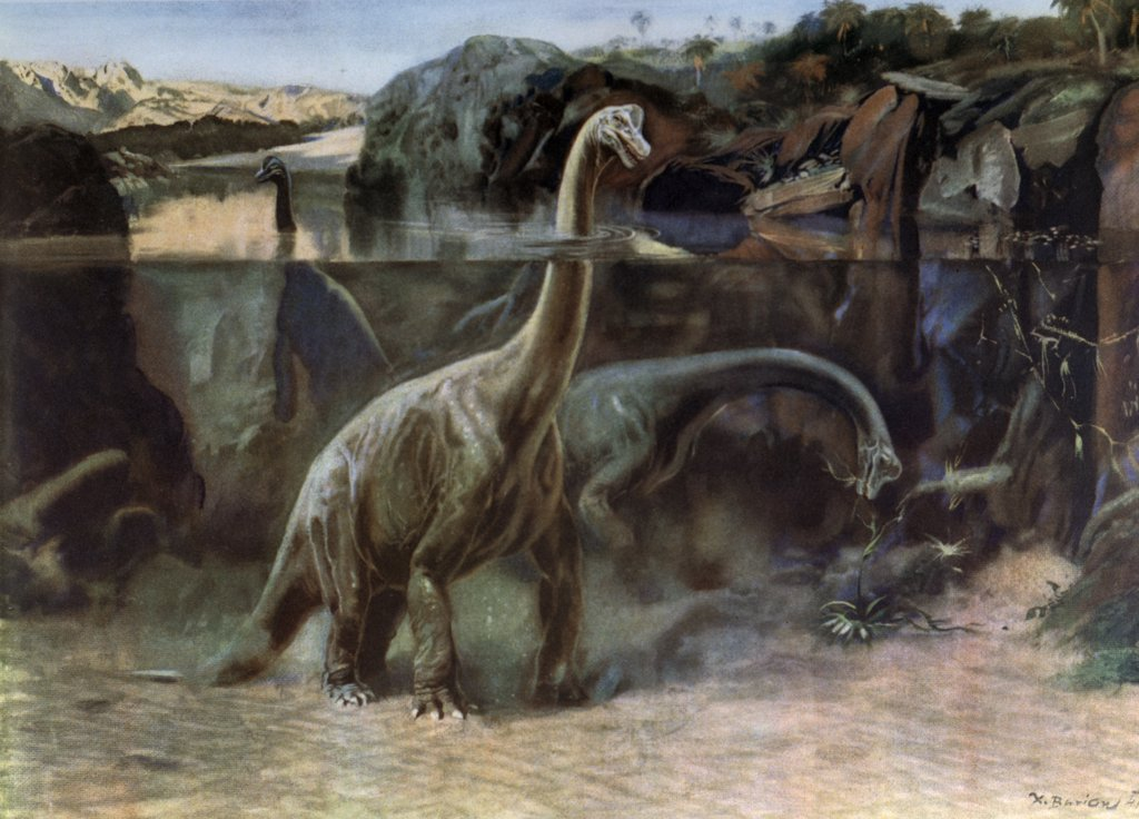 Stock Photo: 900-7513 Brachiosaurus by Zdenek Burian, 1905-1981